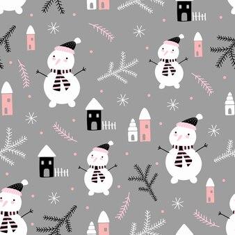 Modèle vectorielle continue avec des arbres de noël et des bonhommes de neige dans un style doodle pour les vacances d'hiver