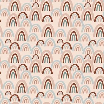 Modèle vectorielle continue avec des arcs-en-ciel abstraits multicolores sur fond beige pour enfants