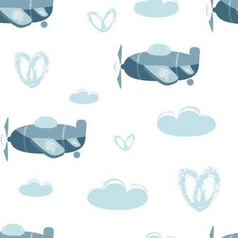 Modèle vectorielle continue avec des avions bleus et des nuages illustration d'enfants