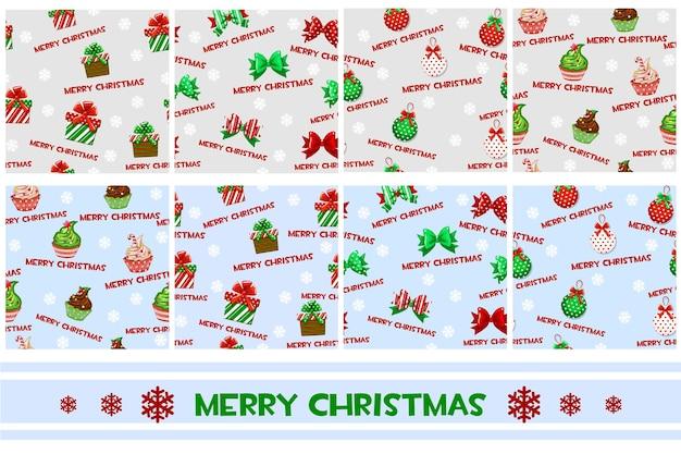 Modèle vectorielle continue avec des cadeaux et des rubans de boules de muffins de symboles de noël