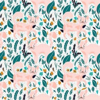 Modèle vectorielle continue avec des chats roses dessinés à la main et des fleurs sauvages motif floral abstrait