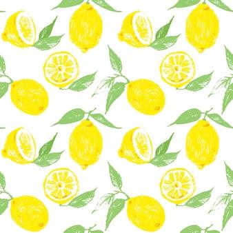 Modèle vectorielle continue avec des citrons. fruits et feuilles de citron comme arrière-plan reproductible. agrumes dessinés à la main pour toile de fond.