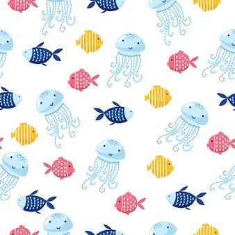 Modèle vectorielle continue de dessin animé de poisson de mer coloré