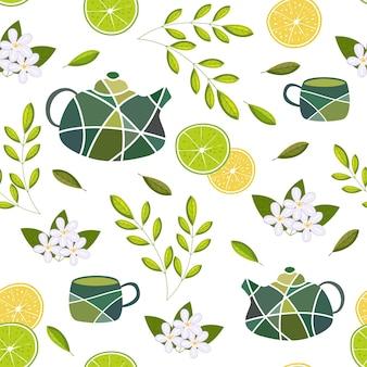 Modèle vectorielle continue avec des éléments pour le thé vert sur fond blanc théières et tasses