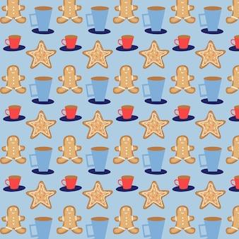Modèle vectorielle continue de pain d'épice de noël et de tasses. fond bleu de cadeau de noël