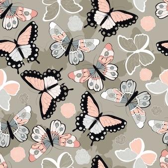 Modèle vectorielle continue avec des papillons colorés dessinés à la main