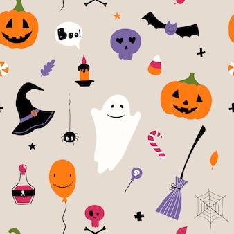 Modèle vectorielle continue pour halloween citrouille chauve-souris balai araignée crâne fantôme