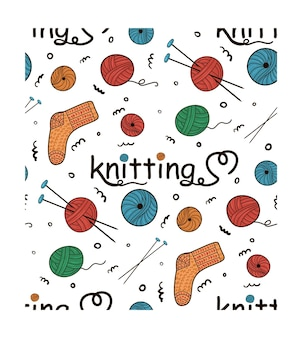 Modèle vectorielle continue à tricoter des pelotes de laine