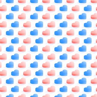 Modèle vectorielle isométrique sans soudure, coeurs géométriques plats bleus et jaunes