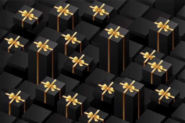 Modèle de vendredi noir avec boîte-cadeau noire