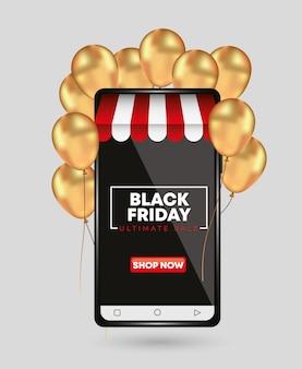 Modèle de vendredi noir pour smartphone avec des ballons d'or. concept de magasin