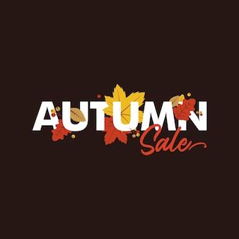 Modèle de vente d'automne avec lettrage