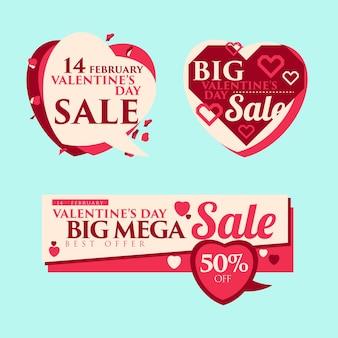 Modèle de vente de balises de prix ou bannière saint-valentin.
