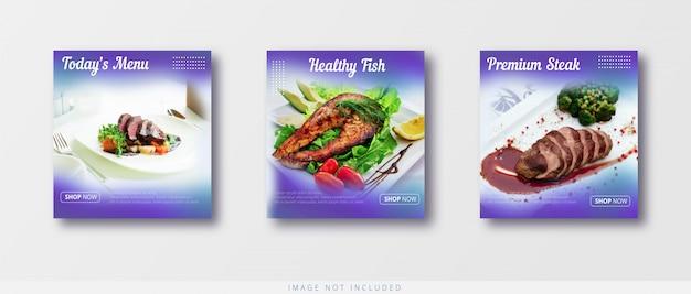 Modèle de vente de bannière alimentaire moderne et minimaliste instagram et médias sociaux