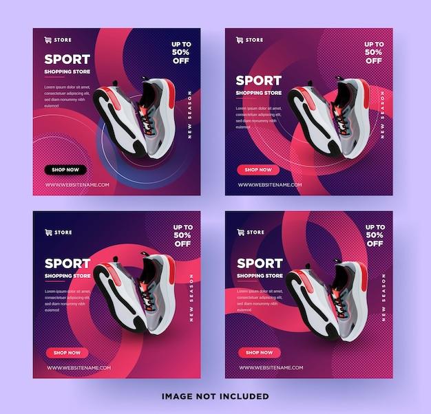 Modèle de vente de chaussures de sport sur les médias sociaux, avec un design moderne