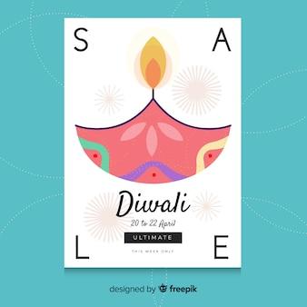 Modèle de vente coloré diwali dessiné à la main