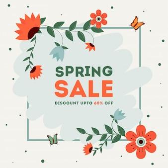 Modèle de vente ou conception d'affiche de printemps
