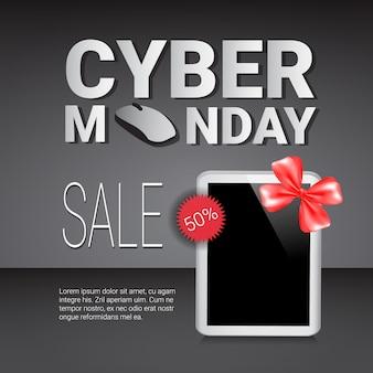 Modèle de vente cyber monday: bannière sur les tablettes numériques modernes