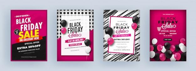 Modèle de vente du vendredi noir ou conception de flyer avec une offre de remise différente sur quatre fond abstrait.