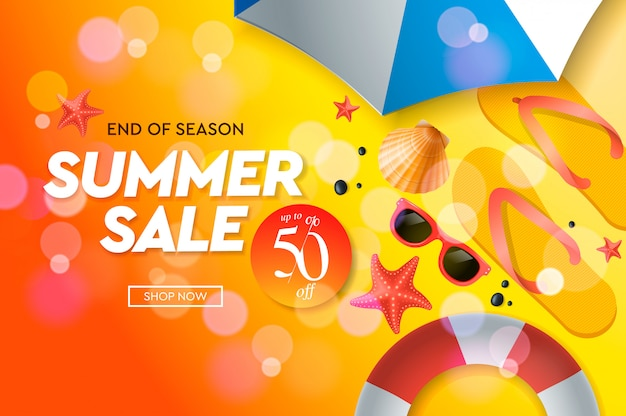 Modèle de vente d'été, bannière web, illustration.