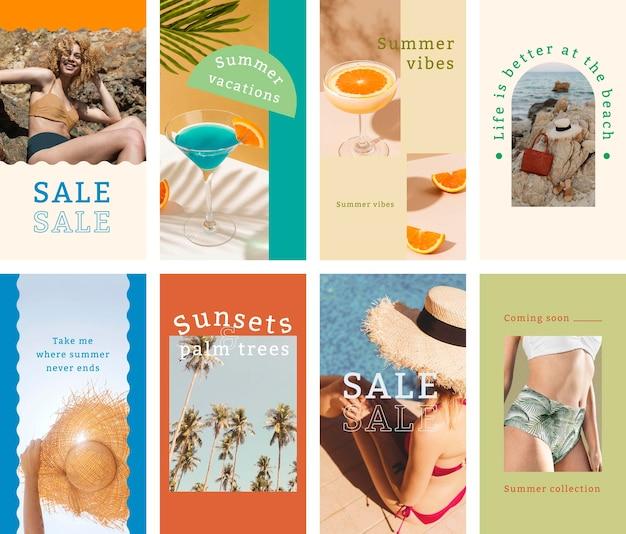 Modèle de vente d'été, ensemble d'histoires instagram