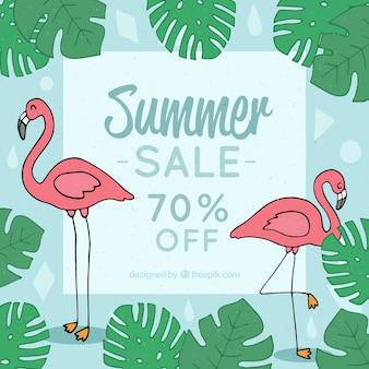 Modèle de vente d'été avec des flamants roses et des plantes