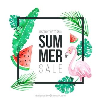 Modèle de vente d'été avec des plantes en texture aquarelle