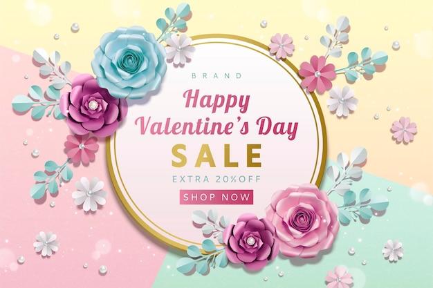 Modèle de vente happy valentine's day avec des décorations de fleurs en papier