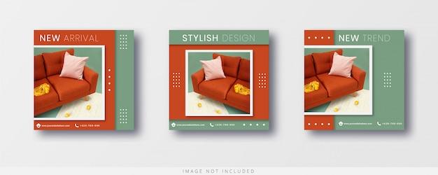 Modèle de vente de meubles pour la publication et la bannière instagram de médias sociaux