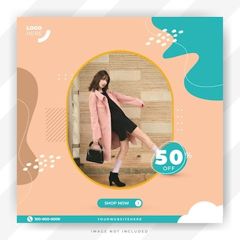 Modèle de vente de mode et modèle de publication instagram