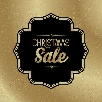 Modèle de vente de noël avec cadre noir élégant sur l'or à la mode