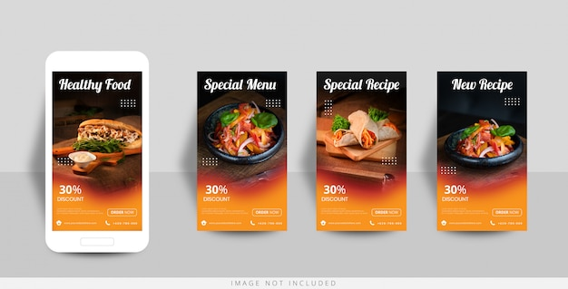 Modèle De Vente De Nourriture D'histoire Instagram De Médias Sociaux Vecteur Premium