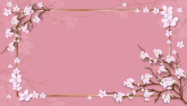 Modèle de vente de printemps avec des branches de cerisier en fleurs avec cadre doré sur fond pastel rose.