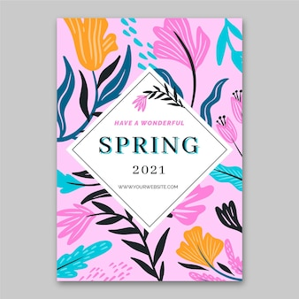 Modèle de vente de printemps de carte de voeux design plat