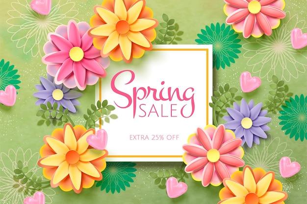 Modèle de vente de printemps avec des fleurs en papier
