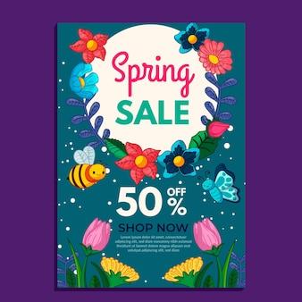 Modèle de vente de printemps flyer dessiné à la main