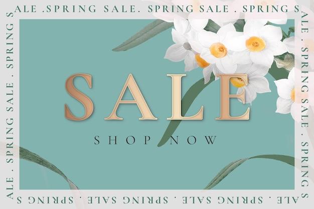 Modèle de vente de printemps avec jonquille