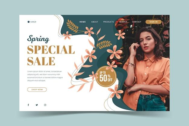 Modèle de vente de printemps des médias sociaux