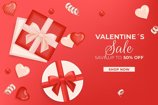 Modèle de vente réaliste de la saint-valentin
