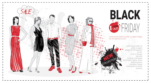 Modèle de vente vendredi noir avec modèles de mode dessinés à la main