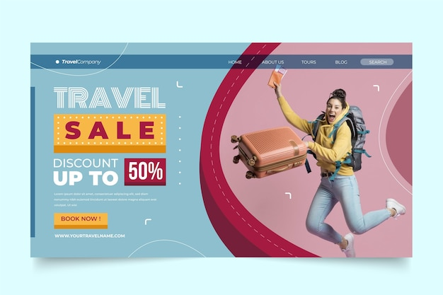 Modèle de vente de voyage de page de destination