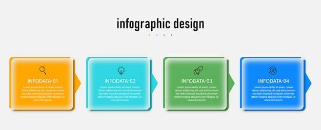 Modèle de verre transparent de conception infographique avec 4 options vecteur premium