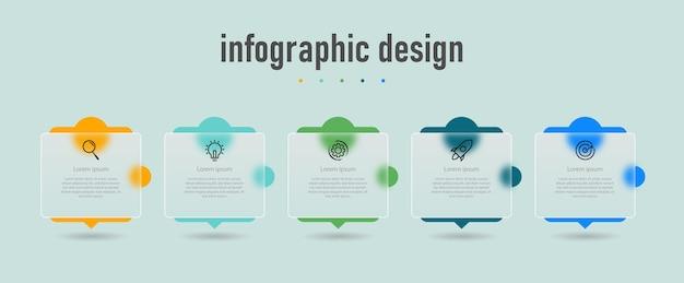 Modèle de verre transparent de conception infographique créative