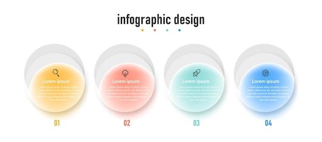 Modèle de verre transparent de conception infographique d'entreprise de présentation avec 4 options ou étapes