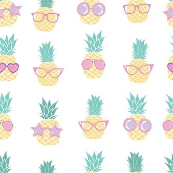Modèle de verres d'ananas, modèle de fruits, vecteur, illustration, modèle sans couture, fond.