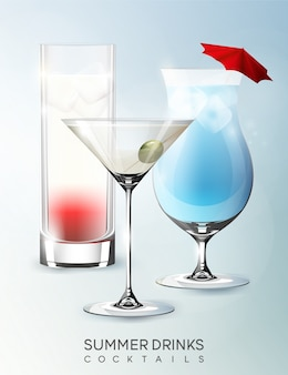 Modèle de verres de boisson alcoolisée d'été avec différents types de cocktails dans un style réaliste isolé