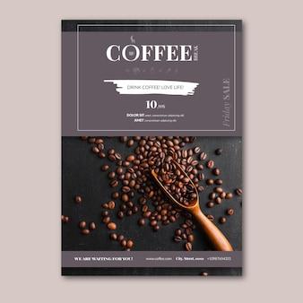 Modèle vertical de flyer de café
