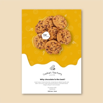 Modèle vertical de flyer de cookies