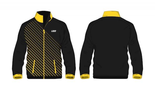 Modèle de veste de sport jaune et noir pour la conception sur fond blanc.