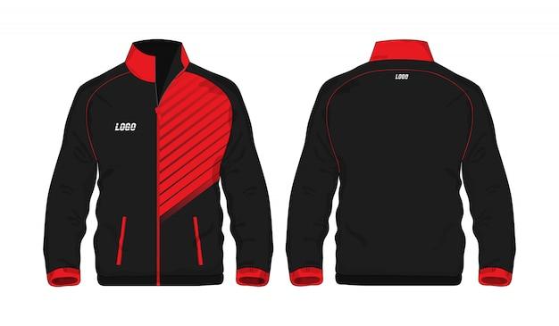 Modèle de veste de sport rouge et noir pour la conception sur fond blanc.